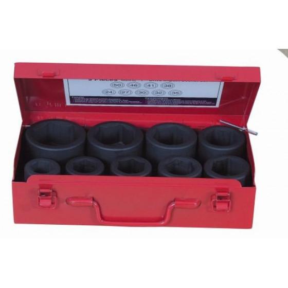 """JEU 9 DOUILLES 1"""" / COFFRET METAL *DT* du 24 au 50 mm - 10839"""