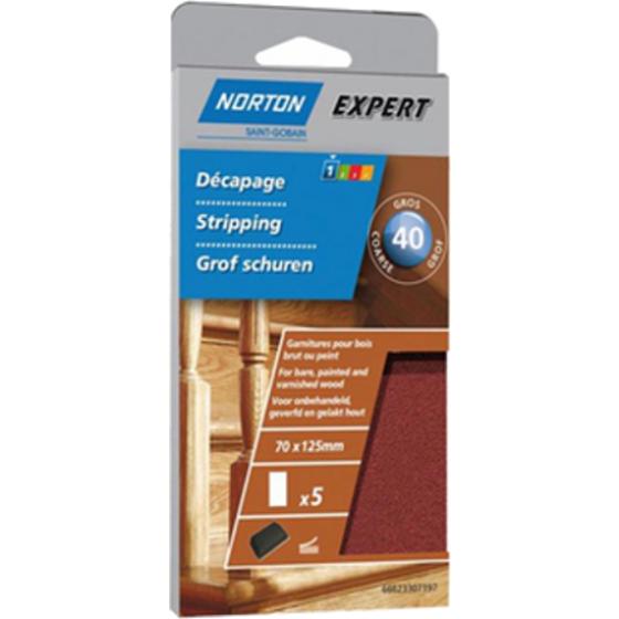 5 recharges auto-agrippantes non perforées pour bois NORTON 70*125 Grain 50 -66623307197