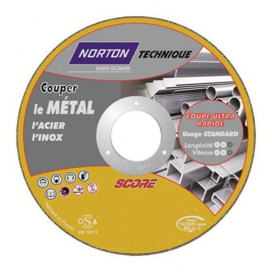 Disque de tronconnage Norton Technique Score Matériaux Ø 115 Epaisseur 1.6 pour matéraiux  -66252832880