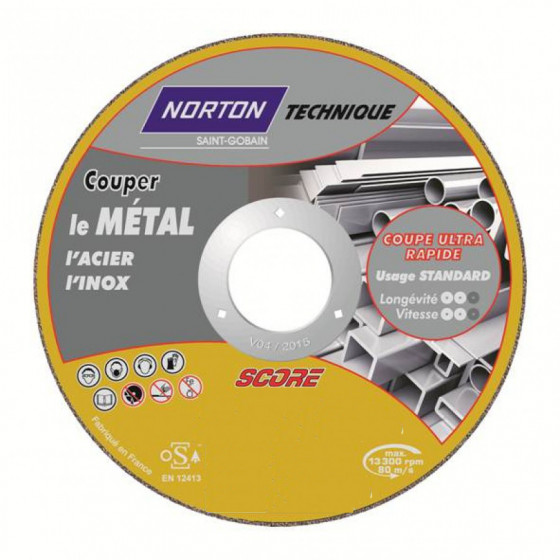 Disque de tronconnage Norton Technique Score  Ø 125 Epaisseur 2.5 pour Métal  -66252833087