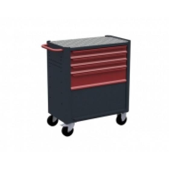 Servante d'atelier rouge 4 tiroirs - 1 soute + porte RUBI- 7410