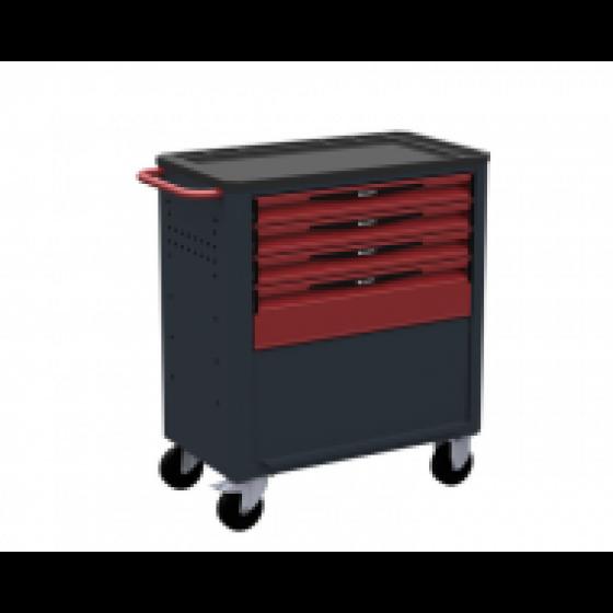 Servante d'atelier rouge 4 tiroirs - 1 soute + porte SORI - 8410