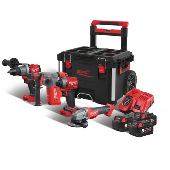 MILWAUKEE - PACK 4 PRODUITS FUEL 18V + PACK OUT TROLLEY  M18 FPP4B-503P - 4933471149
