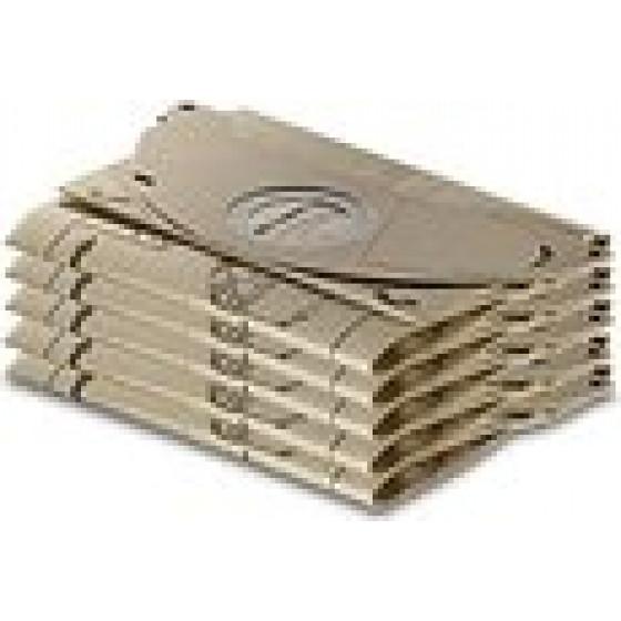 Sachet filtre papier pour aspirateurs eau et poussières KARCHER A 2120 /  3001 /  2501 /  2601 / WD 2500 ( Paquet de 5 piéces) - 6.904-143.0