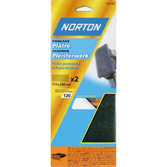 2 patins plâtre 115*280 NORTON pour poncage à main Grain 220 - 63542519114
