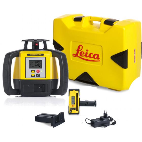 LEICA-LASER  Rugby 680 avec coffret avec batterie Li-ion et cellule de réception Rod Eye 160- 6006010