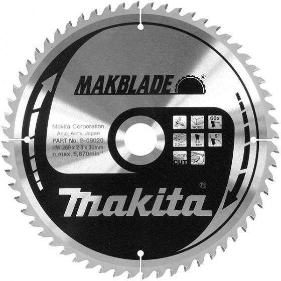 Lames carbure ''Makblade'' Bois, pour scies radiales et à onglets Ø 260 MM MAKITA-B-09020 (Accessoires Scies circulaires)
