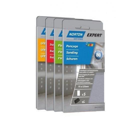 5 recharges anti-encrassantes auto-agrippantes non perforées pour plâtre NORTON 70*125 Grain 180 -66623307246