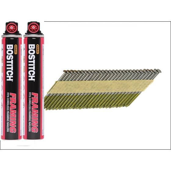 PACK 2200 BOSTITCH Pointes annelées 2.80 X 50 mm + 2 cartouches gaz FC80ML - PT28R50FC