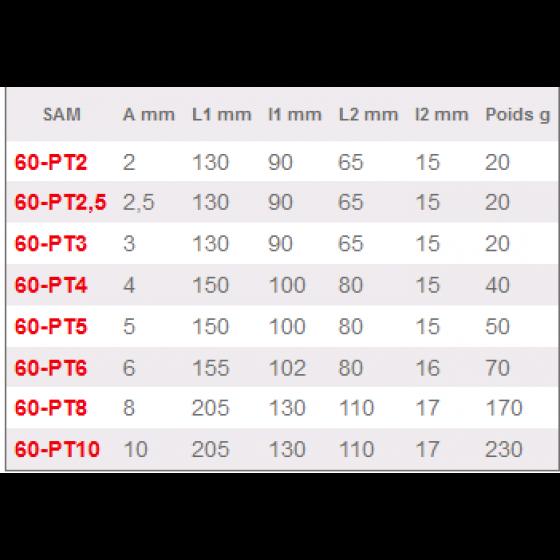 CLE MALE POIGNEE EN L 6 PANS 2 MM SAM OUTILLAGE- 60-PT2