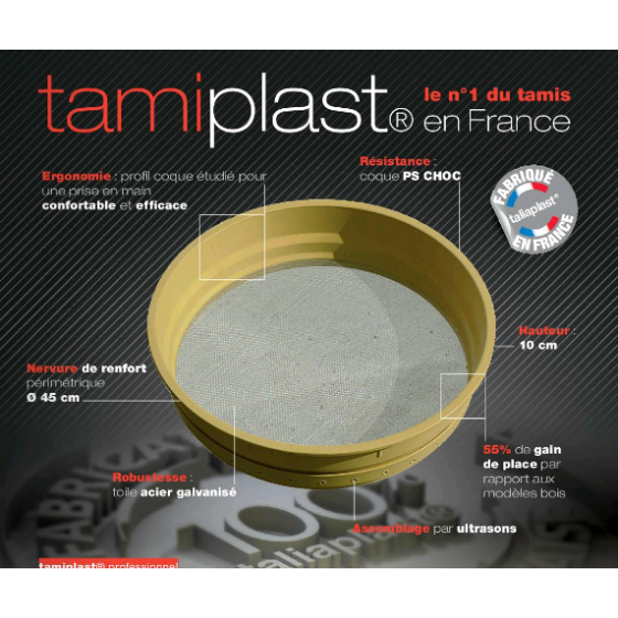 """Tamis plastique """" tamiplast"""" SOFOP TALIAPLAST pour professionnel N°6- 370502"""
