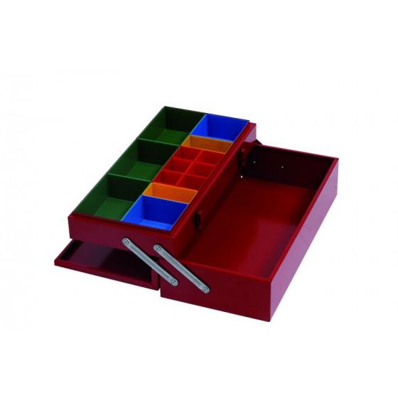 Coffret 505x240x155 avec plateau supérieur équipé de casiers plastique RUBI - CE500