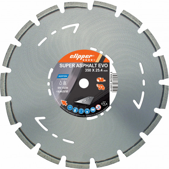 Disque diamant NORTON Super Asphalt Evo Ø 350 mm Alésage 25.4 - 70184623186