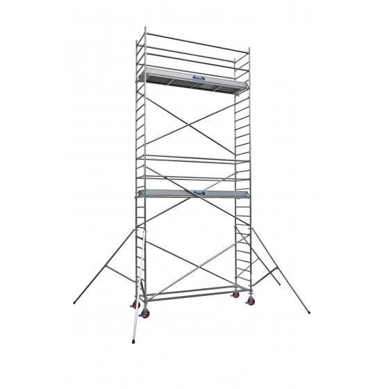 Echafaudages roulants DUARIB Aluminium DOCKER2 85 - LONGUEUR 2.54 m HAUTEUR PLANCHER 4.9 m -Version lisses/ Sous-lisses- 254305