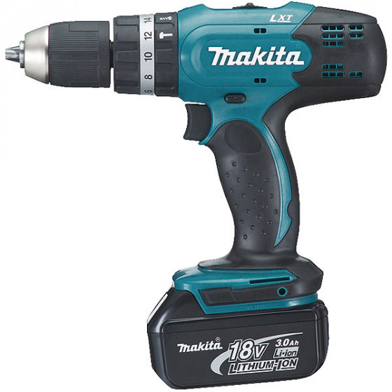 Perceuse visseuse à percussion MAKITA 18 V Li-Ion 3 Ah Ø 13 mm + 2 Batteries BL1830 + coffret -DHP453SFE