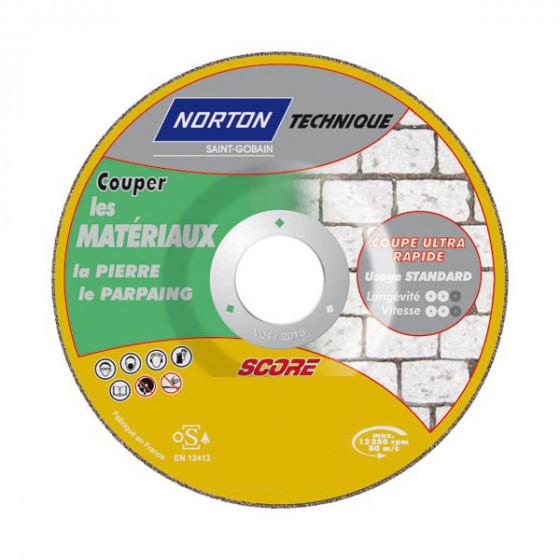 Disque de tronconnage Norton Technique Score Matériaux Ø 115 Epaisseur 2.5 pour matéraiux  -66252833100