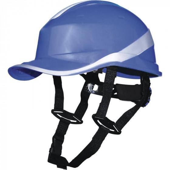 Casque de chantier DIAMOND V UP  Bleu fluo  forme casquette baseball serrage rotor DELTA PLUS - DIAMOND5UPBL
