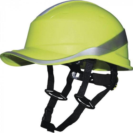 Casque de chantier DIAMOND V UP Jaune fluo  forme casquette baseball serrage rotor DELTA PLUS - DIAMOND5UPJA