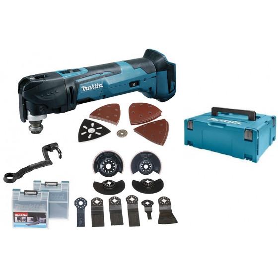 Découpeur-ponceur multifonctions MAKITA 18 V Li-ion (vendu sans batterie ni chargeur)  + kit d'accessoires livré en coffret MAKPAK - DTM51ZJX3
