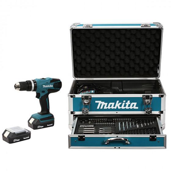 Perceuse visseuse à percussion MAKITA 18 V Li-Ion 1,3 Ah Ø 13 mm + coffret alu - HP457DWEX4