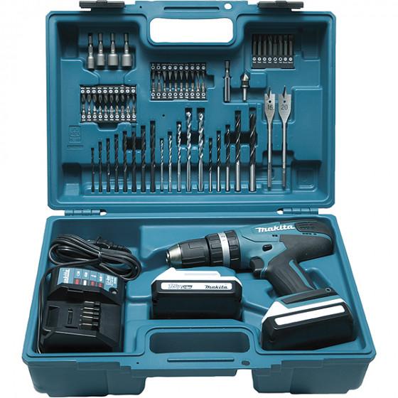 Perceuse visseuse à percussion MAKITA 18 V Li-Ion 1,3 Ah Ø 13 mm ( kit d'accessoires)- HP457DX100