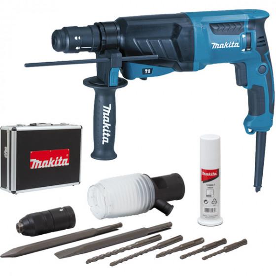 Perfo-burineur MAKITA SDS Plus 800 W 26 mm (coffret alu + kit d'accessoires) - HR2630TX4