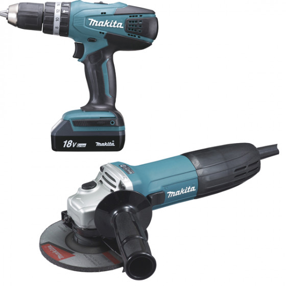 Ensemble de 2 machines MAKITA Perceuse à percussion HP457D + meuleuse GA5030R-LOT0090