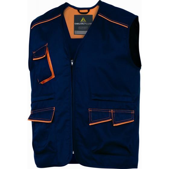 DELTA PLUS- GILET DE TRAVAIL PANOSTYLE® POLYESTER COTON Bleu Marine / Orange-M6GILBM0