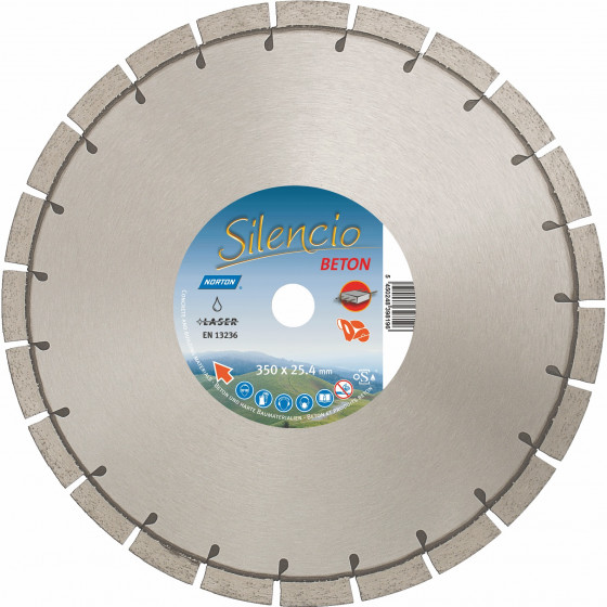 Disque diamant NORTON Silencio Ø 350mm Alésage 25.4 mm- 70184628997