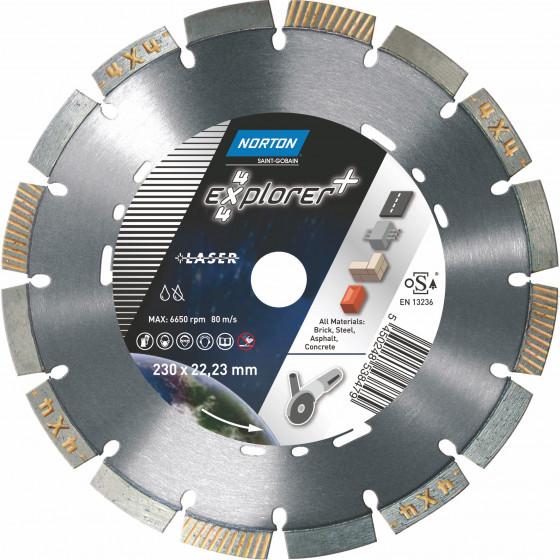 Disque diamant NORTON 4*4 EXPLORER + Multi Usage Ø 230 mm Alésage 22.23 - 70184646156