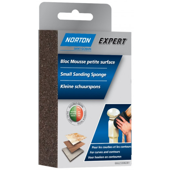 1 bloc mousse angle double NORTON 126*72*26 Grain fin / moyen -66623308284
