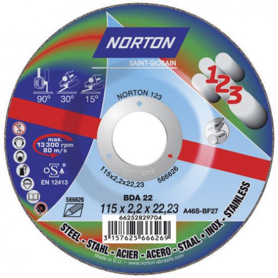 """Disque de tronconnage Norton """"tout en un : couper surfacer polir """" Ø 115 pour meuleuse d'angle- 66252829704"""