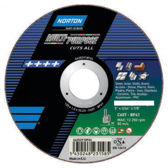 "Disque de tronconnage Norton ""multi applications "" Ø 125 pour meuleuse d'angle- 6625291892"