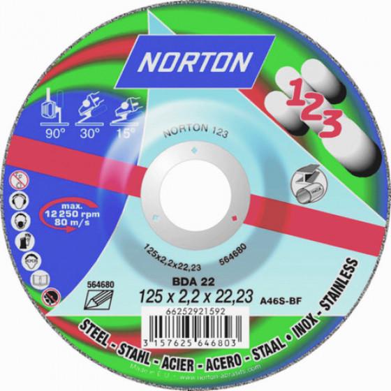 """Disque de tronconnage Norton """"tout en un : couper surfacer polir """" Ø 125 pour meuleuse d'angle- 66252921592"""