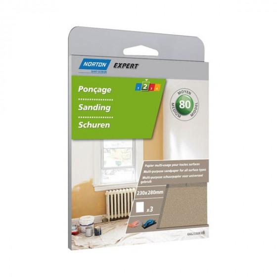 3 feuilles de ponçage 230*280  à main papier Multi-usage Grain 80 - 66623308302