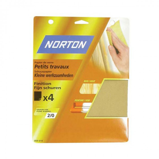 4 feuilles de ponçage NORTON 230*280 à main Papier de verre petits travaux Grain 5 - 63642516122