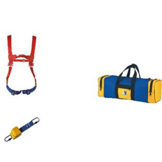 SASSI - Kit Sécurité un harnais + 2 points d'accrochage+ un enrouleur à sangle+ un sac de rangement jaune et bleu -P3075