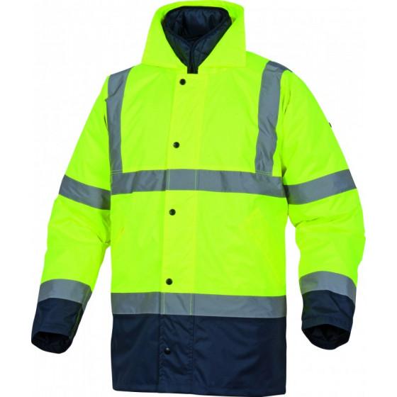 Parka 2 en 1 avec capuche RUNWAY haute visibilité polyester jaune fluo / bleu marine DELTA PLUS - RUNWAJM0