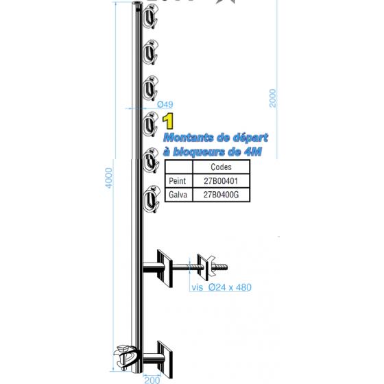 LAGNEAUX- Montants de départ à bloqueurs de 4M Peint - 27B00401