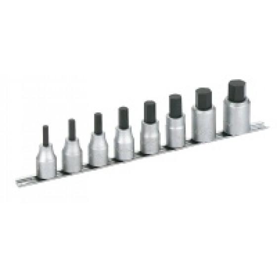 SAM OUTILLAGE-Jeu de 8 douilles tournevis standard 1/2 sur rack monobloc, pour vis 6 pans creux, en mm -SC-J8R