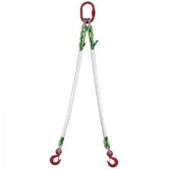 COBALTIX- Élingue 2 brins synthétique A18 AF Lg: 3m avec 2 crochets de sécurité CS  - WEC183