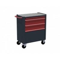 Servante d'atelier rouge 3 tiroirs - 1 soute + porte RUBI- 7310