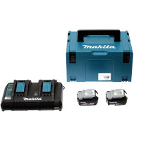 Pack MAKITA Énergie 18 V Li-Ion (2 batteries 4 Ah + 1 chargeur double) avec coffret MAKPAC-197504-2