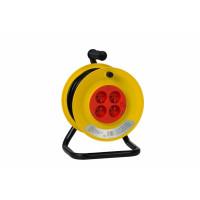 Enrouleur électrique domestique 4 prises - 15m de câble HO5VVF 3G1,5 + disjoncteur thermique - chassis avec tube de 19mm peint noir - bobine 210mm / 130mm -CEBA-200I1515V