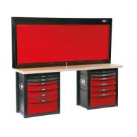 Établi d'atelier 12 tiroirs avec armoire à rideau SAM OUTILLAGE-2012-PMAZ