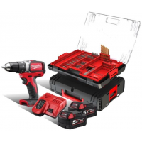 Perceuse à percussion compacte BRUSHLESS 18 V 5 Ah 60 Nm MILWAUKEE M18BLPD502XA + 100 accessoires en coffret HDBOX - 4933464129