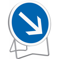 Panneau d'obligation de tourner à droite B21a1 650 mm classe T1 + PIED - SOFOP TALIAPLAST - 524416