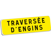 Panonceau TRAVERSEE D'ENGINS  KM9 classe T1 900 x 250 SOFOP TALIAPLAST - 525216