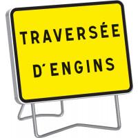 """Panneau KC1 """" TRAVERSEE D'ENGINS """" classe T1 + PIED - SOFOP TALIAPLAST - 525612"""