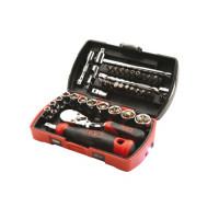 """Coffret pocket light 39 douilles et accessoires 1/4"""" avec cliquet 1/4"""" chantier SAM OUTILLAGE-73RC39Z"""